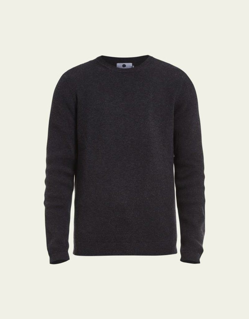 No Nationality Phil Ribbed Knit Cotton Jumper | Antracite Grey Melange