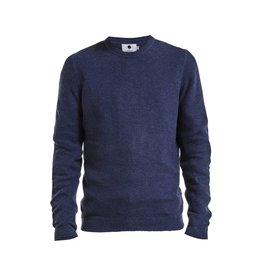 No Nationality Hubert Waffle Knit Cotton Jumper | Middle Blue Melange