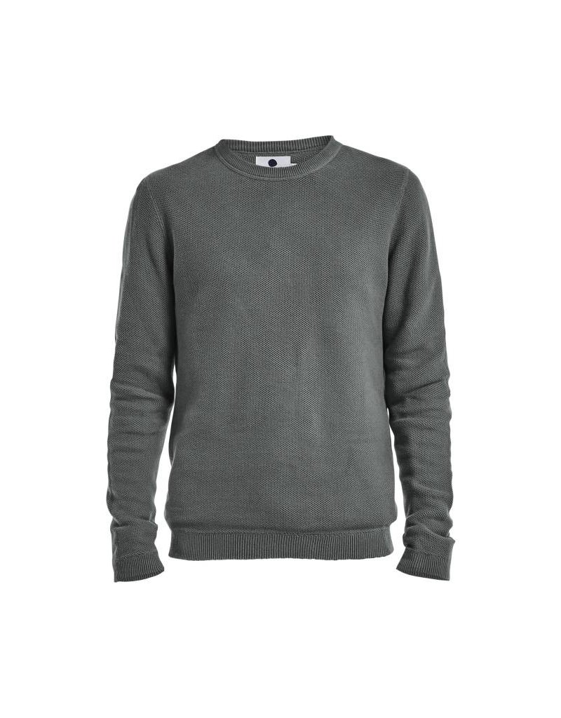 No Nationality Hubert Waffle Knit Cotton Jumper | Dark Green