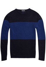 Scotch & Soda AMS Blauw | Cotton  / Linen Knit Pullover | Blue