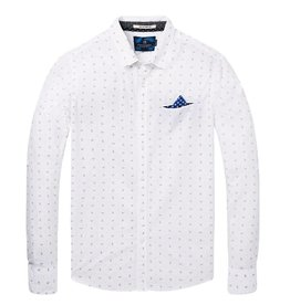 Scotch & Soda Printed White Button Through Shirt | White