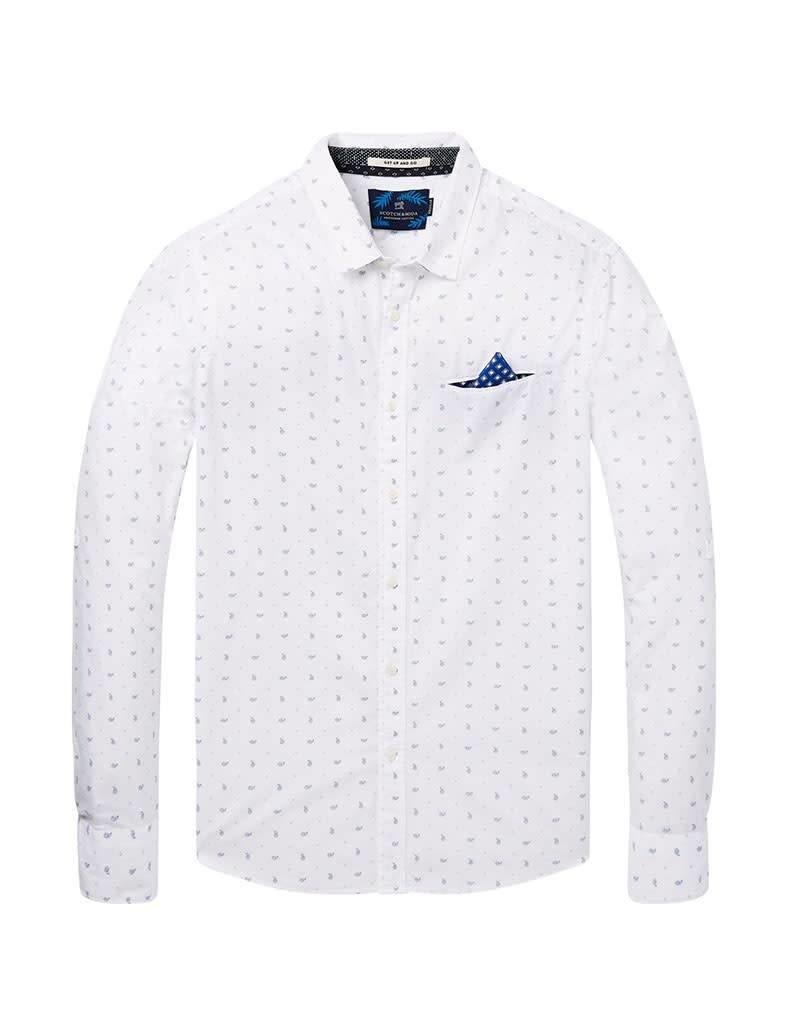 Scotch & Soda Printed White Button Through Shirt | White