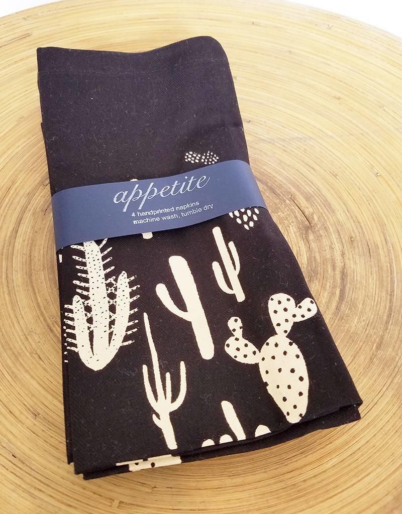 Appetite Shop Handprinted set of 4 Cacti Napkins Black