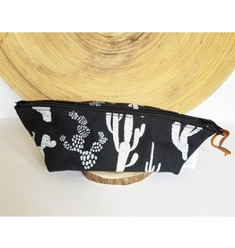 Appetite Shop Small Cosmetic Pouch Cactus Print Black