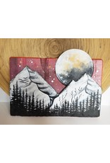 Basin Reclaimed Painted Wood Art Medium-Mountains Moon Scene
