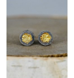 Jenny Reeves 6mm Erosion Posts with Keum-Boo, Oxidised Sterling Silver