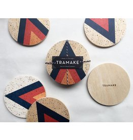 Tramake Arrow Printed Wood Coasters-set of 4