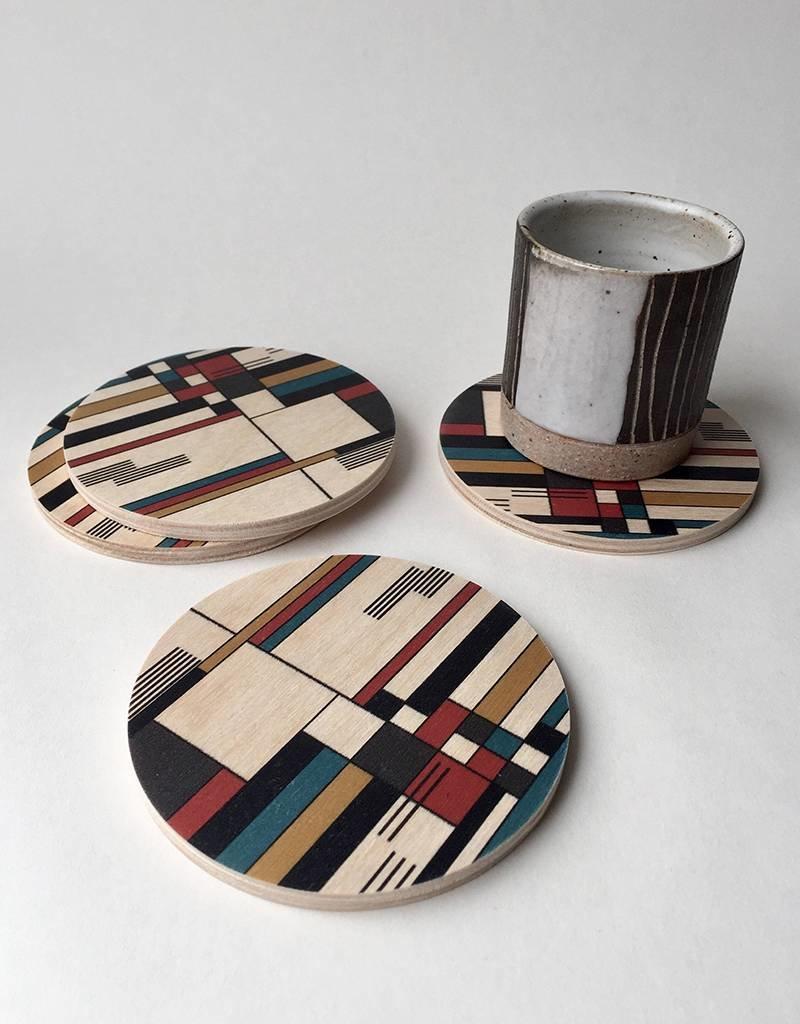 Tramake Bauhaus Wood Coaster-set of 4