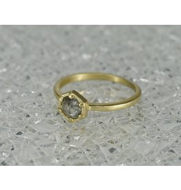 Sarah Swell Jewelry Bridal: Deco Hex Ring 18k Rough Diamond size 6