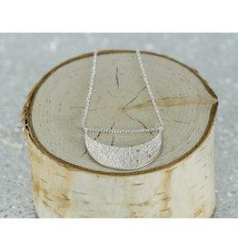 Sarah Swell Jewelry Weathered Cresent Necklace SS Diamonds
