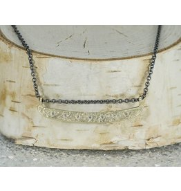 Sarah Swell Jewelry Weathered Bar Necklace 18k Gold Diamonds Oxidized Chain