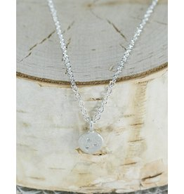 Sarah Swell Jewelry Medium Treasure Coin Necklace Sterling Silver Diamonds