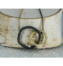 Sarah Graham Metalsmithings Pebble Double Link Necklace.08ct Diamonds 18""