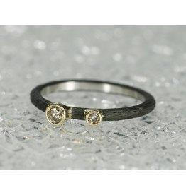 Sarah Graham Metalsmithings Pebble Stacking CC, .03ct/.10ct Cognac Diamond:6.5