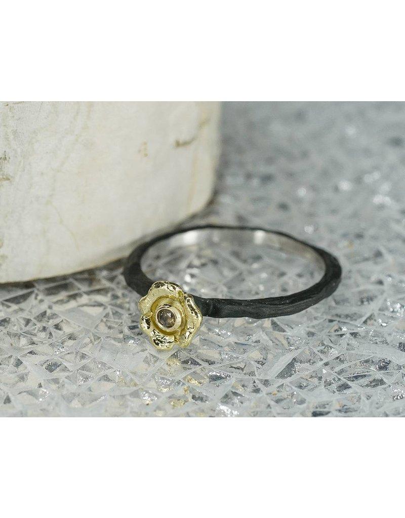 Sarah Graham Metalsmithings Bee Stacking CC, Med Flower, 03ct Cognac Diamond size 6.5