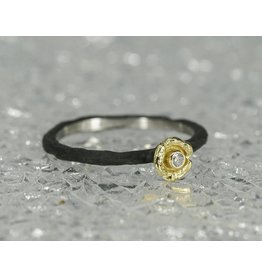 Sarah Graham Metalsmithings Bee Stacker CC 18k Gold Sm Flower, .02ct Diamond- size 6