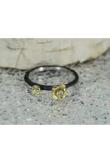 Sarah Graham Metalsmithings Bee CC Stacker, Gold Baby/Medium Flower, .03ct Diamond-Size 7