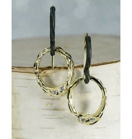 Sarah Graham Metalsmithings Arches Oval Earrings, .10ct Diamonds