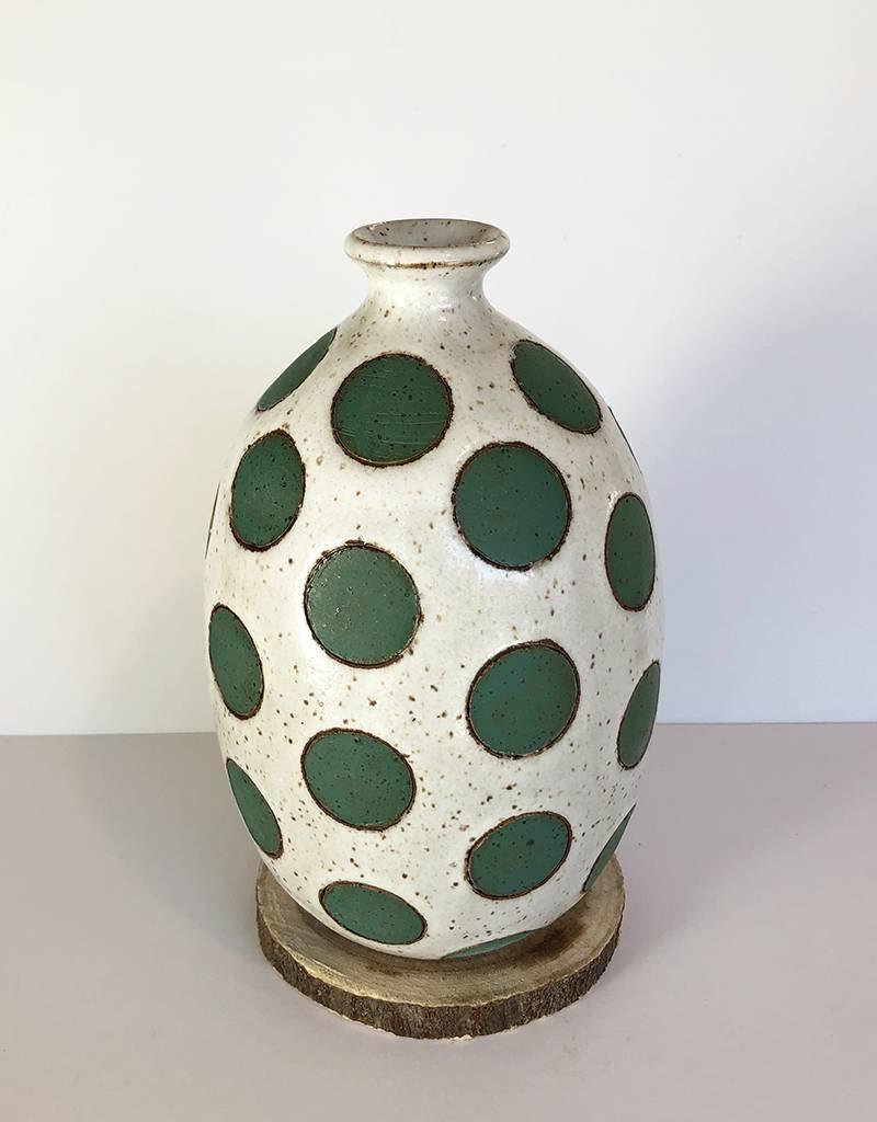 Matthew Ward Green Polka Dot Vase