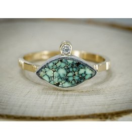 Young In The Mountains Geo Turquoise Marquise Ring-size 6