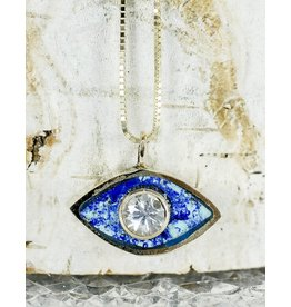Young In The Mountains Third Eye Azurite Necklace w/White Sapphire