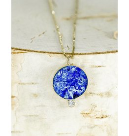 "Young In The Mountains Solis Necklace Azurite w/Diamond 14ky 18"" Chain"