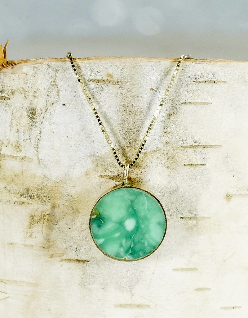 """Young In The Mountains Circ Necklace Lucin Variscite: 18"""" 14ky Gold"""