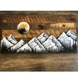 Basin Reclaimed Painted Wood Art Large-Mountain Scene