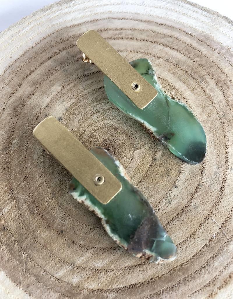 Nichole Shepherd Jewelry 18k  Rough chrysoprase Slab Stud Earrings
