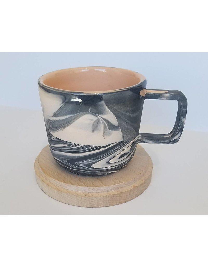 Peaches Black Peach Marble Mug