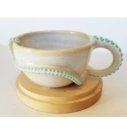 The Clay Cache Sea Green Dots Espresso Cup