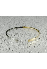 Elle Naz Gold and Oxidized Sterling Silver Hammered Bracelet