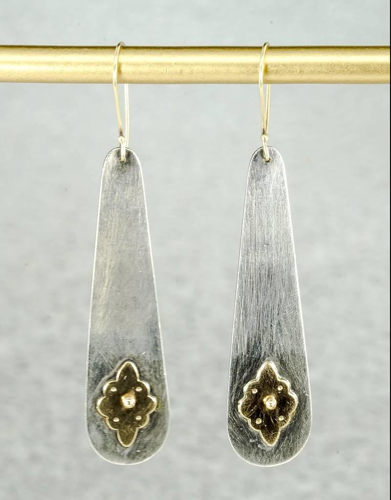 Elle Naz Oxidized Long Sterling SilverEarrings with Gold Carpet Flower