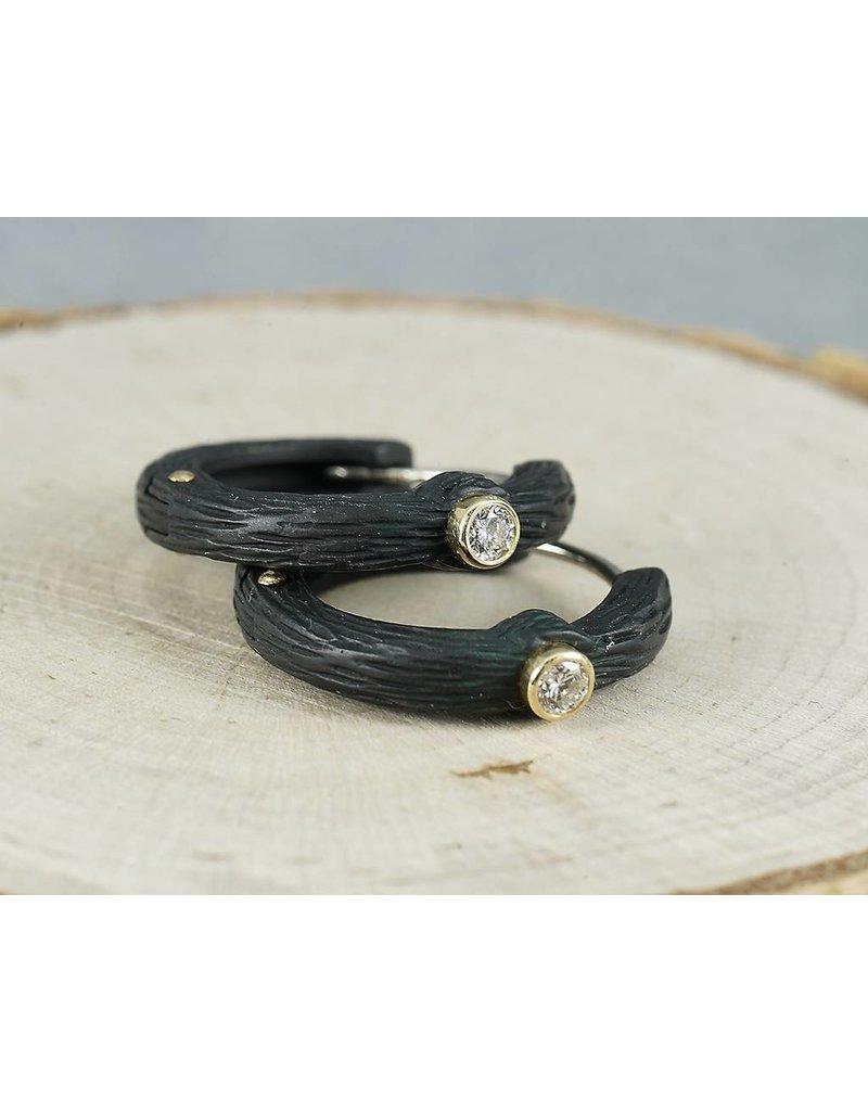 Sarah Graham Metalsmithings Pebble Medium Hinged Hoops w/ .10 ct Diamonds-CC