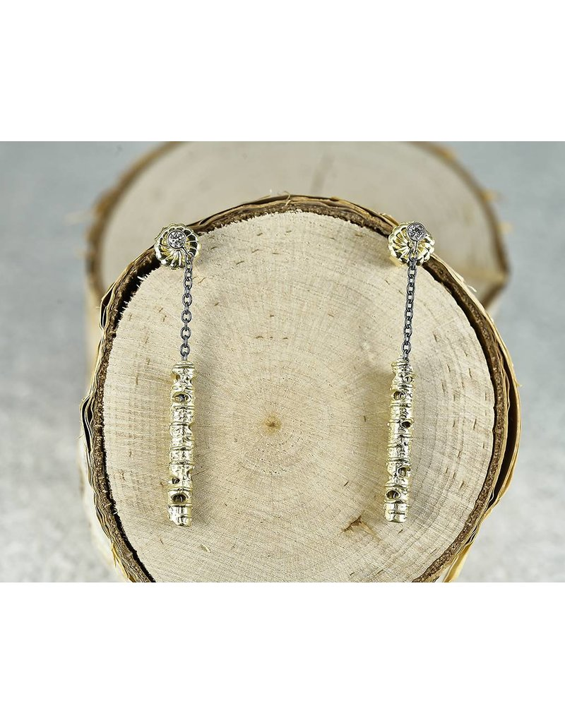 Sarah Graham Metalsmithings Aspen 25mm Stick Earrings on Oxidized  Silver Chain ,10 ct white Diamonds