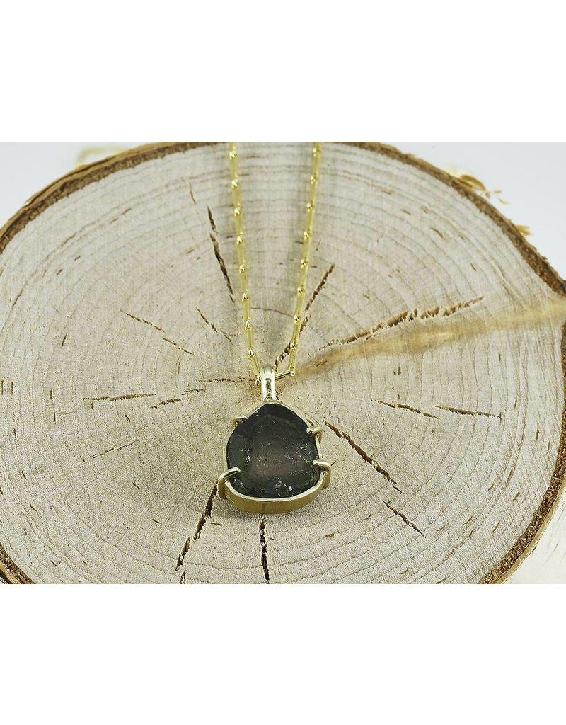 """Judi Powers Jewelry Framed Tourmaline Necklace 14k Gold-18""""inch chain"""