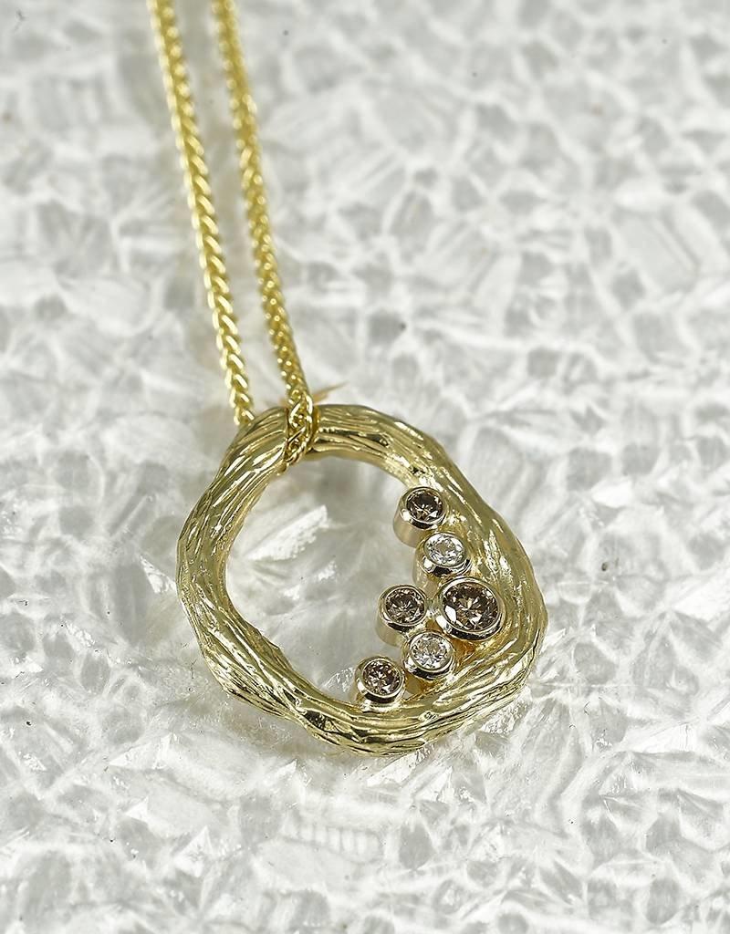 Sarah Graham Metalsmithings Pebble Small Link Pendant w/ .17ct White Diamonds/Cognac diamond YGs