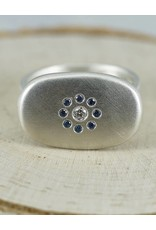 Judi Powers Jewelry Pebble Ring Sterling Silver With Blue Sapphires-size 6