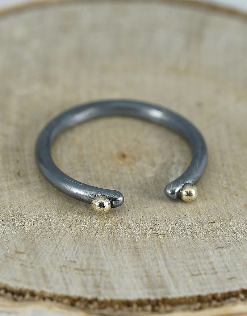 Elle Naz Oxidised SS Open Ring with two 14k Gold Balls