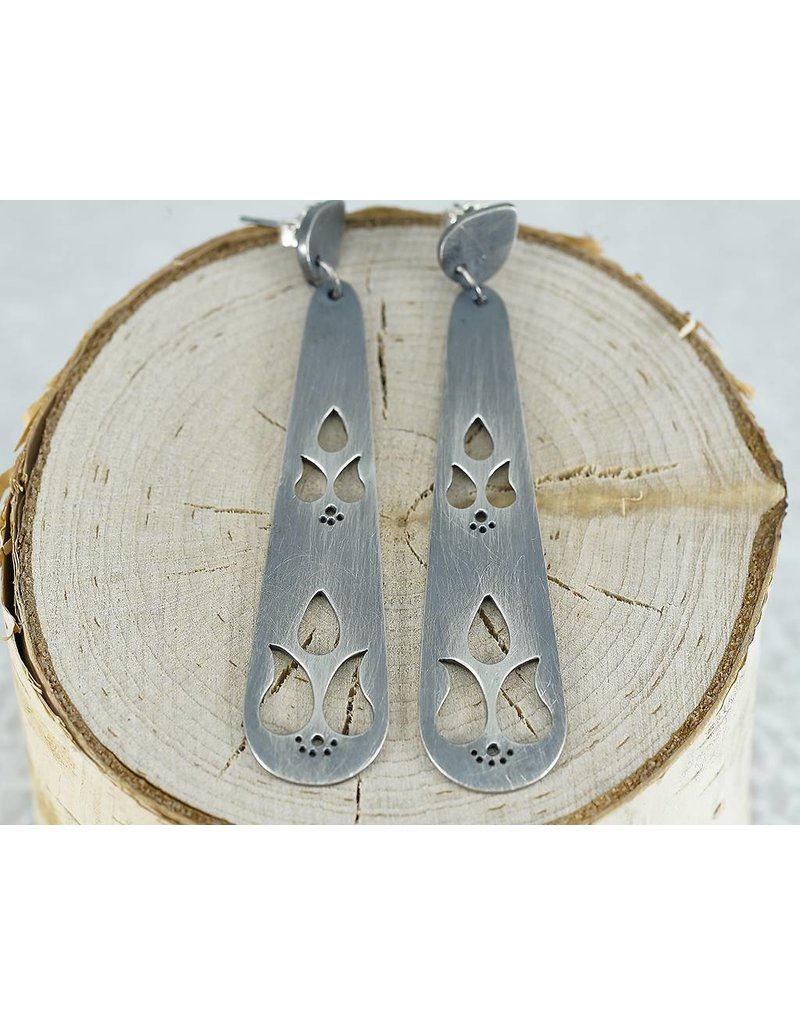 Elle Naz Oxidised Long Earrings Studs with 6 Paisley cut outs and Dots