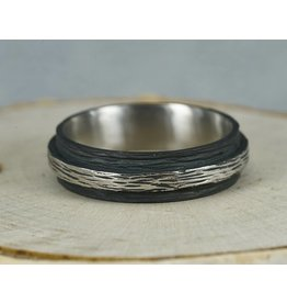 Sarah Graham Metalsmithings Mens-Pebbled Raised Center Band
