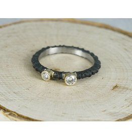 Sarah Graham Metalsmithings Aspen Stacking Ring with .05ct and .15ct White Diamonds CC