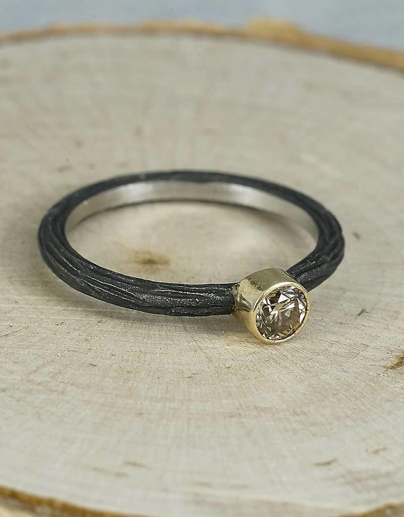 Sarah Graham Metalsmithings Pebble Stacking Ring-.20 ct cognac diamond CC