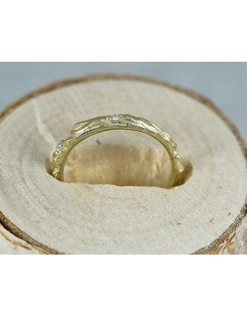 Sarah Graham Metalsmithings Arches Band with White Diamonds-YG