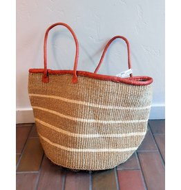 "Creative Women Market Tote 15"" white stripe sisal basket"
