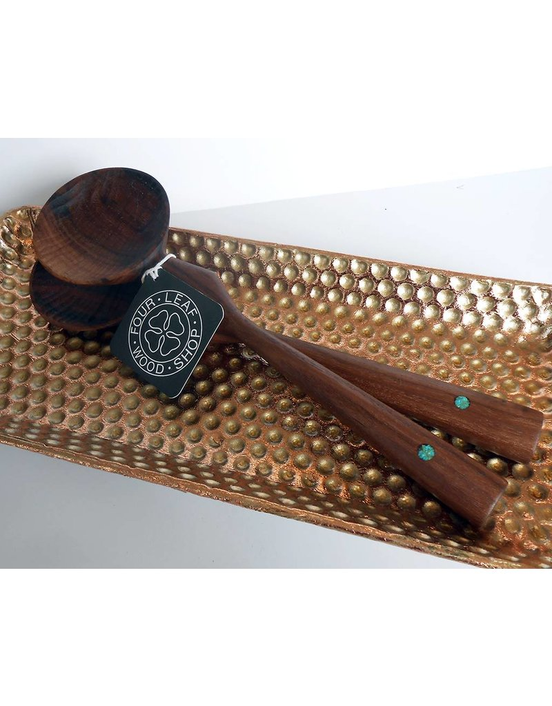 Four Leaf Wood Shop Walnut & Turquoise Geometric Set