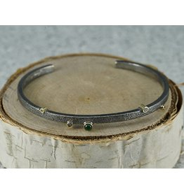 Jenny Reeves 3mm Sterling Silver Cuff, 3mm Emeralds, 1.7mm, 1.3mm Choc Diamonds
