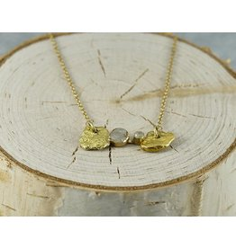 Nichole Shepherd Jewelry Gold Nugget Necklace in 18k Gold with 2 Rough Diamonds