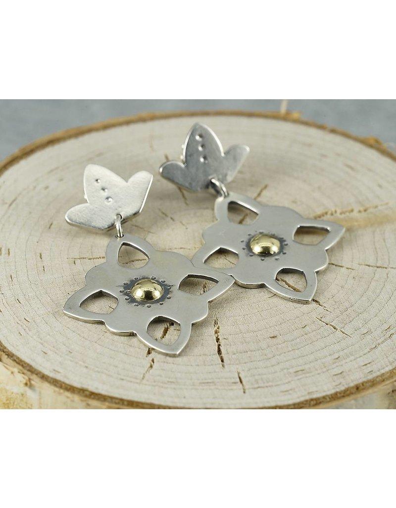 Elle Naz Sterling Silver stud flower earrings-gold center- A-022