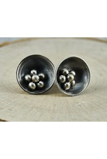 Elle Naz Sterling Silver Stud Earrings with oxidized Balls-A-031